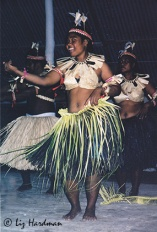 The Tuvalu, or Gilbertese people of Tabuaeran, Kiribati Republic (of Micronesian descent) are famous for their hospitality. Here we were guests treated to dancing and a feast of note.