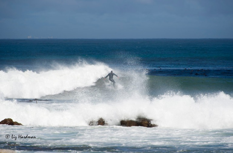 The surf was up with a good curl for the local surfers to ride.
