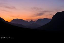Sunset view looking towards Dwarsrivier Peak