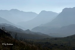 View of the peaks up the Dwarsrivier