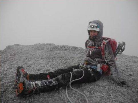 Covered in rime frost at Cotopaxi summit (5897m).