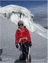 Descending the glacier.