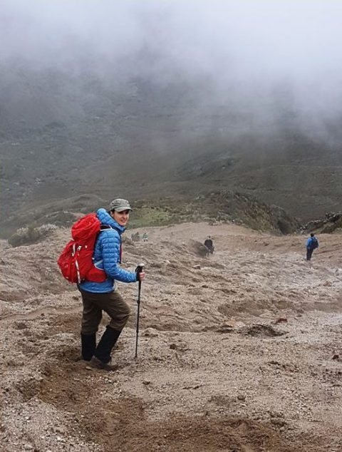 """Descending Rucu Pinchincha was fun with a long scree slope allowing us to """"ski down"""" in our hiking boots."""