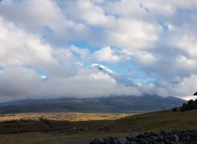 Cotopaxi finally seen through the clouds from Tambopaxi Lodge.